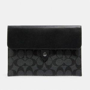 COACH Black Logo Button Snap Tablet Sleeve Case